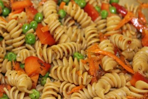 Shortcut Pasta Salad, closeup