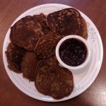 plantain pancakes and blueberry spread